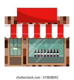 The front facade of the liquor store with a large shop window. Flat style. Vector illustration.