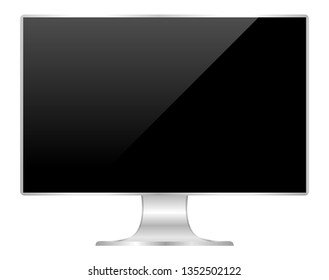 front of flat monitor black screen computer, pc display digital wide screen and slim, icon of monitor modern lcd, symbol 3d modern screen, mock up full screen desktop empty isolated white background