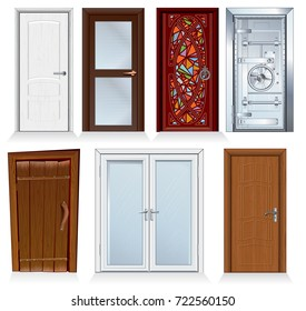 Front and Interior Doors. For Houses and buildings set Realistic Vector illustration. Modern and Retro doors isolated on white. Closed