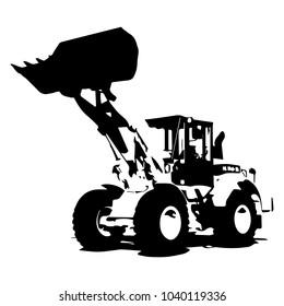 Front loader black color on white background icon illustration.