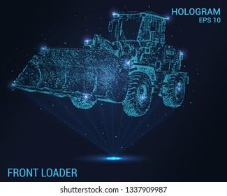 Front loader hologram. Digital and technological background of the front loader. The futuristic design of the front loader