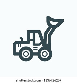 Front loader icon, heavy construction loader vector icon