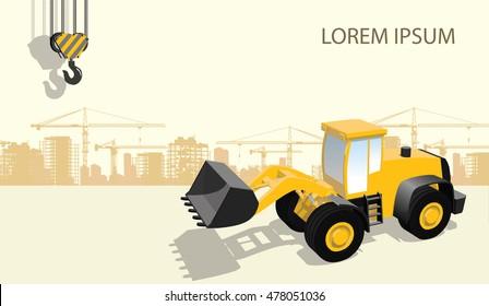 front loader undr construction flat 3d graphic