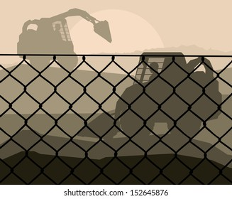 Front loader vector abstract background concept with wired fence