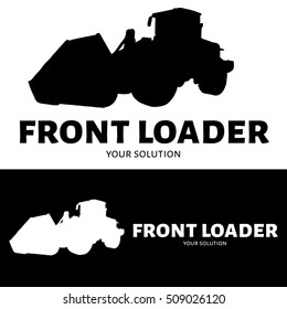 Front loader vector logo. Silhouette