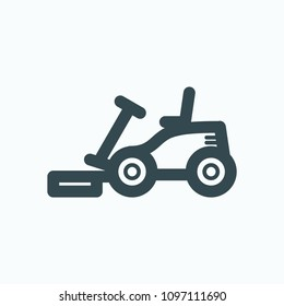 Front mower icon, lawn mower rider vector icon