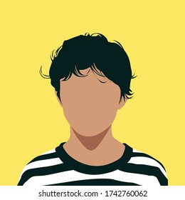 Front portrait of a guy. Faceless young dark haired boy. Avatar for social networks. Bright vector illustration in flat style.