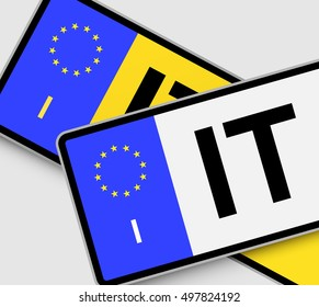 Front and rear Italian vehicle licence plates with EU marking