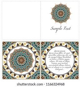 The front and rear side. mandala design elements. Invite templates . Wedding invitation, thank you card, save card, baby shower. Vector illustration.