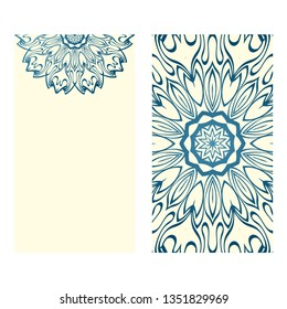 The Front And Rear Side. Mandala Design Elements. Wedding Invitation, Thank You Card, Save Card, Baby Shower. Vector Illustration. Blue milk color.