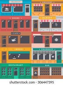 Front shop facade set illustration vector