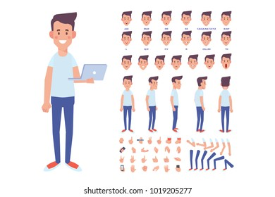 Front, side, back, 3/4 view animated character. Young guy character constructor with various views, hairstyles, face emotions, poses, lip sync and gestures. Cartoon style, flat vector illustration.
