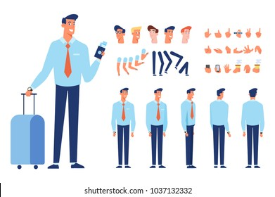Front, side, back, 3/4 view animated character. Treveler business man character with luggage. Constructor with various views, faces, gestures, poses. Cartoon style, flat vector illustration.