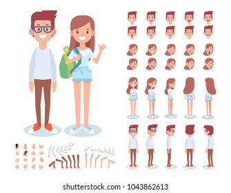 Front, side, back, 3/4 view animated characters. Boy and girl teenagers characters creation set with various views, lip sync, face emotions, poses and gestures.Cartoon style, flat vector illustration.