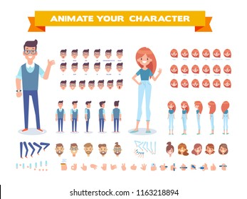 Front, side, back, 3/4 view animated characters. Young girl and guy character constructor with various views, face emotions, lip sync, poses and gestures. Cartoon style, flat vector illustration.