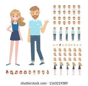 Front, side, back, 3/4 view animated characters. Young girl and man character constructor with various views, face emotions, lip sync, poses and gestures. Cartoon style, flat vector illustration.
