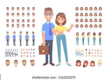 Front, side, back, 3/4 view animated characters. Young man and woman characters constructor with various views, face emotions, lip sync, poses and gestures. Cartoon style, flat vector illustration.