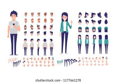Vorder, Seite, Rückseite, 3/4 animierte Zeichen anzeigen. Jugendliche kreieren mit verschiedenen Ansichten, Frisuren und Gesten. Cartoon-Stil, flache Vektorgrafik.