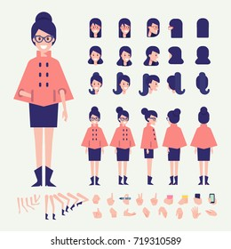 Front, side, back, 3/4 view animated character. Young woman in warm coat constructor with various views, hairstyles, poses and gestures. Cartoon style, flat vector illustration.