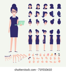 Front, side, back, 3/4 view animated character. Young woman with laptop constructor with various views, hairstyles, poses and gestures. Cartoon style, flat vector illustration.