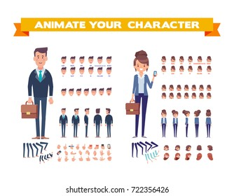 Front, side, back, 3/4 view animaes characters. Business people creation set with various views, hairstyles, face emotions, poses, lip sync, and gestures. Cartoon style, flat vector illustration.