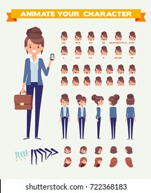 Front, side, back, 3/4 view animated character. Business woman character creation set with various views, hairstyles, lip sync, face emotions and gestures. Cartoon style, flat vector illustration.