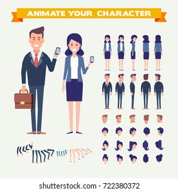 Front, side, back, 3/4 view animated characters.Business people couple creation set with various views, hairstyles, faces. Parts of body template for design.Cartoon style, flat vector illustration.