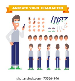 Front, side, back, 3/4 view animated character. Young man with phone character constructor with various views, face emotions, poses and gestures. Cartoon style, flat vector illustration.