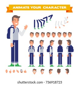 Front, side, back, 3/4 view animated character. Casual man character constructor with various views, face emotions, poses and gestures. Cartoon style, flat vector illustration.