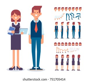 Front, side, back, 3/4 view animated characters. Man and Woman Office workers constructor with various views, face emotions, poses . Cartoon style, flat vector illustration.