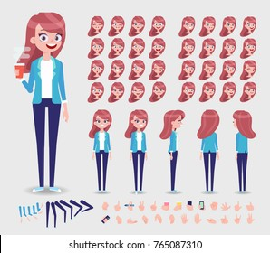 Front, side, back, 3/4 view animated character. Young Girl character constructor with various views, face emotions, poses and gestures. Cartoon style, flat vector illustration.