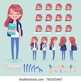 Front, side, back, 3/4 view animated character. Girl student constructor with various views, face emotions, poses and gestures. Cartoon style, flat vector illustration.