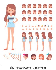 Front, side, back, 3/4 view animated character. Pretty character constructor with various views, hairstyles, face emotions, lip sync, poses and gestures. Cartoon style, flat vector illustration.