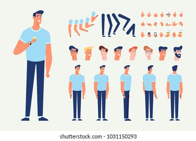 Front, side, back view animated character. Young man character creation set with various views, hairstyles, poses and gestures. Cartoon style, flat vector illustration.