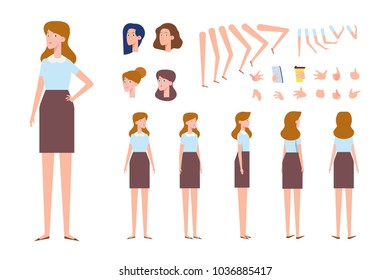 Front, side, back view animated character. Pretty young woman character creation set with various views, hairstyles, gestures, poses. Cartoon style, flat vector illustration.