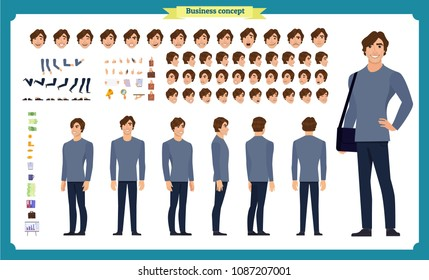 Front, side, back view animated character set with various views, hairstyles, face emotions, poses and gestures. man in casual clothes.Cartoon style, flat vector illustration.People character