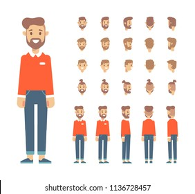 Front, side, back view animated character, separate parts of body. Young guy constructor with various views, hairstyles. Cartoon style, flat vector illustration.