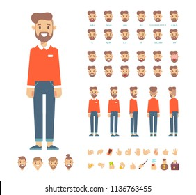 Front, side, back view animated character,separate parts of body. Young man constructor with various views, hairstyles, poses and gestures. Cartoon style, flat vector illustration.
