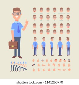 Front, side, back view animated male character. Business man creation set with various views, face emotions, poses and gestures. Cartoon flat vector illustration.