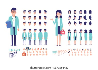 Front, side, back view animated characters. Woman and man doctor constructor with various views, hairstyles, gestures. Cartoon style, flat vector illustration.