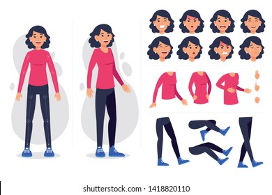 Front, side, back view animated character. Business woman character creation set with various views, hairstyles, face emotions, poses and gestures. Cartoon style, flat vector illustration
