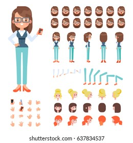 Front, side, back view animated character. Sporty girl character creation set with various views, hairstyles, face emotions, poses and gestures. Cartoon style, flat vector illustration.