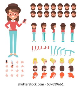 Front, side, back view animated character. Hipster girl character creation set with various views, hairstyles, face emotions, poses and gestures. Cartoon style, flat vector illustration.