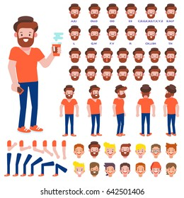 Front, side, back view animated character. Bearded Hipster character creation set with various views, hairstyles, face emotions, poses and gestures. Cartoon style, flat vector illustration.