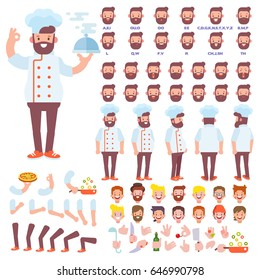 Front, side, back view animated character. Chef character creation set with various views, hairstyles, face emotions, poses and gestures. Cartoon style, flat vector illustration.