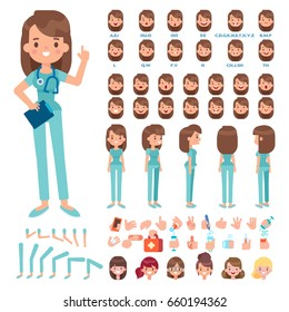 Front, side, back view animated character. Nurse character creation set with various views, hairstyles, face emotions, poses and gestures. Cartoon style, flat vector illustration.