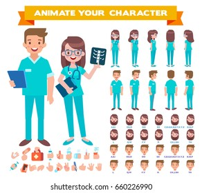 Front, side, back view animated characters. Male and Female doctors character creation set. Cartoon style, flat vector illustration.