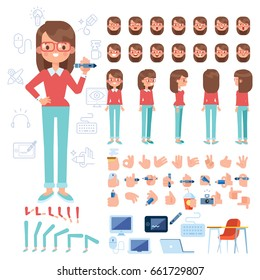 Front, side, back view animated character. Designer character creation set with various views, hairstyles, face emotions, poses and gestures. Cartoon style, flat vector illustration.