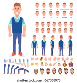 Front, side, back view animated character. Young guy character creation set with various views, hairstyles, face emotions, poses and gestures. Cartoon style, flat vector illustration.