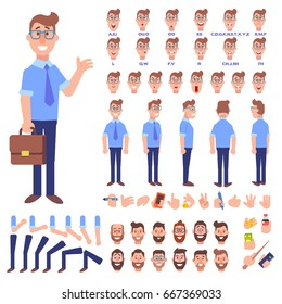 Front, side, back view animated character. Male manager character creation set with various views, hairstyles, face emotions, poses and gestures. Cartoon style, flat vector illustration.